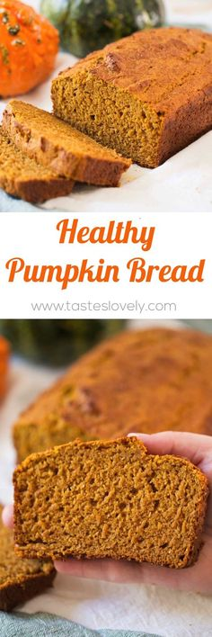 A delicious, healthy pumpkin bread recipe - the BEST pumpkin bread I've ever had! And, it's made with half the amount of sugar, half whole wheat flour, greek yogurt and coconut oil. A healthier pumpkin bread you Healthy Baking, Healthy Desserts, Pumpkin Recipes, Fall Recipes, Baking Recipes, Dessert Recipes, Bread Recipes, Flour Recipes, Healthy Pumpkin Bread