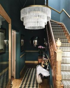 Farrow and Ball Inchyra blue hallway; dark dramatic interior design Farrow and Ball Inchyra blue hallway; Interior Modern, Interior Design Tips, Interior Inspiration, Interior And Exterior, Interior Ideas, Luxury Interior, Hallway Inspiration, Japanese Interior, Interior Colors