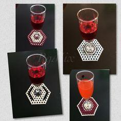 Handmade beaded mat bead doilyhexagon shaped mat by KattysMall Hexagon Shape, Doilies, Coasters, Shapes, Beads, Handmade, Trapper Keeper, O Beads, Hand Made