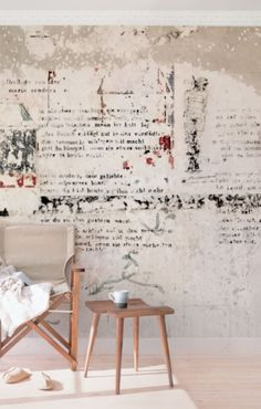 Concrete Wallpaper   Old Concrete Wall With Poems   Mural Wide
