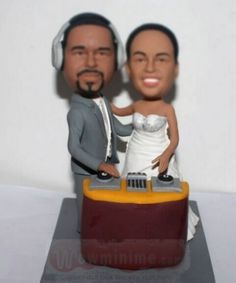 DJ theme wedding cake topper - custom cake toppers personalized make from your own photos, top level custom cake toppers for wedding, anniversary and any occasions. Themed Wedding Cakes, Custom Wedding Cake Toppers, Dj, Anniversary, Birthday Cake, Creative, Weddings, Birthday Cakes, Cake Birthday