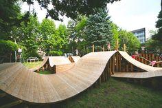 "Jun Igarashi Architects Inc.|Works:""Korogaru"" Park in Nature YCAM InterLab+Jun Igarashi Park Playground, Playground Design, Sapporo, Urban Landscape, Landscape Design, Backyard Skatepark, Urban Park, Outdoor Learning, Parking Design"