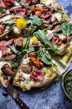 Dandelion Green Pesto, Fresh Fig and Gorgonzola Pizza with Prosciutto | halfbakedharvest.com @hbharvest