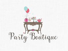 Party Boutique Logo Design Children Logo Kids by MaggieArtStudio