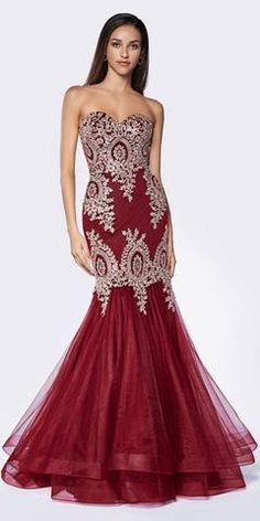 Cinderella Divine 9179 Strapless Mermaid Tulle Gown Burgundy Lace Details And Beading Strapless Dress Formal, Prom Dresses, Bride Dresses, Formal Dresses, Funeral Dress, Long Mermaid Dress, Cinderella Dresses, Tulle Gown, Gold Lace