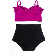 Maroon Purple Top and Black Retro Vintage Design High-waist High... ($40) ❤ liked on Polyvore featuring swimwear, bikinis, bathing suit, bikini, swimsuit, high waisted bathing suits, bikini bathing suits, high waisted retro bathing suits, high waist bikini swimsuit and high-waisted bikinis