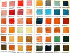 Vegetable Dye Color Chart Endpaper of Vegetable Dyeing: 151 Color Recipes for Dyeing Yarns and Fabrics with Natural Materials by Alma Lesch. New York: Watson-Guptill Publications Fabric Yarn, How To Dye Fabric, Dyeing Fabric, Dyeing Yarn, Textile Dyeing, Shibori, Natural Dye Fabric, Natural Dyeing, Textiles