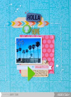 Used only add-on #1 (Sept 2012) for this. There's nothing quite like coming home to all the palm trees and the strange spaceship looking restaurant at LAX.    I used a 3x3 Instagram cardstock print from Perniskety Prints.  Holla I'm Home by amytangerine at Studio Calico