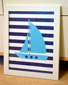 Sailboat 8x10 print- Nautical nursery decor- baby blue and navy- sailor theme party. $8.00, via Etsy.