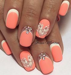 Evening nails, Extraordinary nails, Heart nail designs, Hearts on nails, Light summer nails, Matte nails, Peach nails, Reverse french gel polish manicure