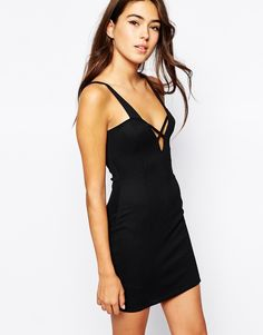Oh My Love Textured Cross Front Bodycon Dress - Black