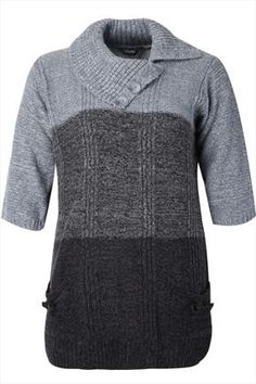 Grey Tonal Stripe Tunic With Large Offset Collar