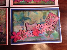 Stars and butterfly. Handmade card using Gelli plate and mixed media.