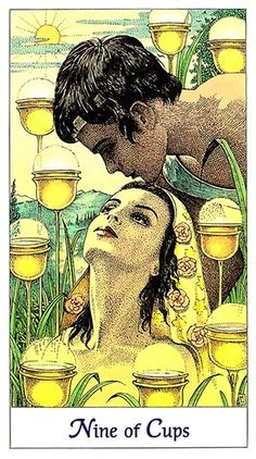 Today's tarotscope -- Nine of Cups -- featuring the Cosmic Tarot, by Norbert Lösche and Jean Huets, published by U. Tarot Card Decks, Tarot Cards, Nine Of Cups, Real Love Spells, Real Witches, Online Tarot, Money Spells, Cup Art, Tarot Card Meanings