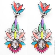 Boucles d'oreilles pendantes strass colorblock - Bijoux Fantaisie/Boucles d'oreilles - Bulle2co