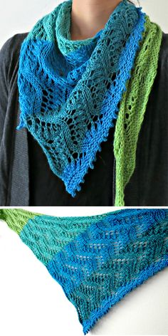 """Free Knitting Pattern for One Skein Kohi Scarf - Lace asymmetrical triangle is b. Free Knitting Pattern for One Skein Kohi Scarf - Lace asymmetrical triangle is built on a """"waves of wheat"""" pattern repea. Knitted Shawls, Crochet Scarves, Knit Crochet, Shawl Patterns, Knitting Patterns Free, Herringbone Stitch, Triangle Scarf, Lace Knitting, Color Change"""