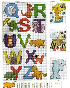 Gallery.ru / Фото #81 - toalhas infantis 2 - tekere205 Cross Stitch Baby, Cross Stitch Alphabet, Letter Patterns, Craft Patterns, Disney Cross Stitch Patterns, Letter A Crafts, Beaded Bags, Letters And Numbers, Cross Stitching