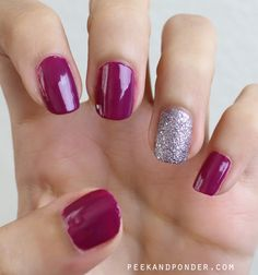 purple nails with sparkle accent using L'oreal polishes