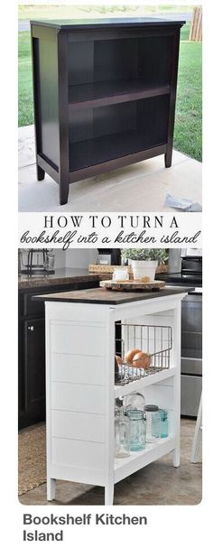 Turn an old bookcase into a kitchen island! Find the tutorial here… SUPER CLEVER! Turn an old bookcase into a kitchen island! Find the tutorial here: www. Refurbished Furniture, Repurposed Furniture, Furniture Makeover, Antique Furniture, Farmhouse Furniture, Rustic Furniture, Diy Furniture Repurpose, Refurbished Bookshelf, Painted Furniture