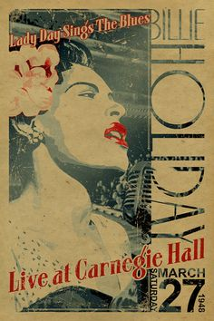 Affiche de Billie Holiday. Lady Day chante que les Blues live at Carnegie Hall. 1948.12x18 le 27 mars. Musique de jazz. Papier d'emballage. Art. New York