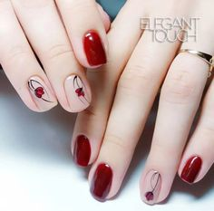 Pretty Spring Floral Nail Designs You Must Try 2019 Spring will start one week later and we're already welcoming the season with cheerful nail art from Nude Nails, Acrylic Nails, Hair And Nails, My Nails, Red Nail Designs, Pretty Nail Art, Red Nail Art, Manicure E Pedicure, Nagel Gel