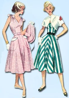 1950s Vintage Simplicity Sewing Pattern 3562 Easy Misses Sun Dress Size 14 32B…