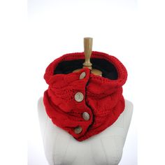 Fleece interior red scarf, fleece interior button infinity scarf... (130 MYR) ❤ liked on Polyvore featuring accessories, scarves, circle scarf, tube scarf, red circle scarf, red loop scarf and red shawl