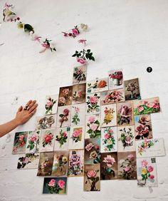 Blog maison - décorer un mur- cartes postales fleurs