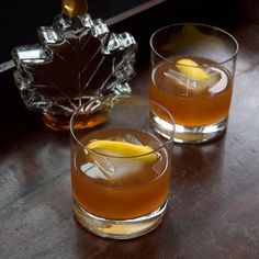 Rich cognac and amaro are lightly sweetened by nutty walnut and maple.