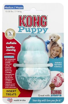 Description - From KONG Teething Rubber - Also appropriate for smaller breed dogs - Can help decrease separation anxiety - Encourages healthy mouth and jaw muscle development The KONG Puppy toy is the