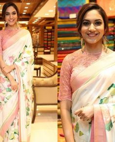 Looking for stylish blouse designs for sarees? Here are chic blouse models with fancy neck and sleeve designs that you can wear with any saree. Blouse Designs High Neck, Simple Blouse Designs, Silk Saree Blouse Designs, Floral Print Sarees, Saree Floral, Designer Blouse Patterns, Blouse Models, Fancy Sarees, Saree Styles
