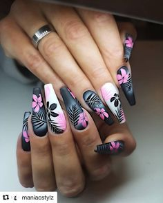 Coffin Nails Designs Trends Nail Art Ideas 2019 - Page 21 of 58 Coffin Nails Designs Trends Nail Art Ideas 2019 - Page 21 of 58 - hairstylesofwomens. Coffin Nails Designs Trends Nail Art Ideas 2019 - Page 21 of 58 - hairstylesofwomens. Best Acrylic Nails, Acrylic Nail Designs, Cute Nails, Pretty Nails, Diy Ongles, Flower Nails, Nails With Flower Design, Nail Art Flowers, Stylish Nails