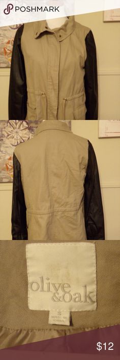 Olive & Oak Faux Leather and Twill Jacket Olive & Oak Taupe 100% Cotton Twill and Black Faux Leather Sleeve Jacket Sz S  Worn several times. Jacket just got too small for me. Lots of life left in it.   These items come from a smoke free home  Please ask questions before purchasing.   I will be listing many items over the next few months. I am pairing down my closet. My loss is your gain! Olive & Oak Jackets & Coats