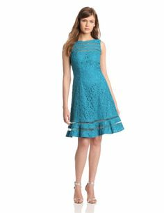 Adrianna Papell Women's Lace Skater Dress, Teal Crush, 12 Adrianna Papell $64