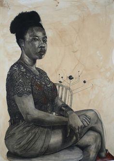 Robert Pruitt, Black Orrery, 2016, conté charcoal, coffee African American Artist, American Artists, Famous Black Artists, Harlem Renaissance Artists, Portrait Art, Portraits, Figure Drawing, Home Art, Art Museum