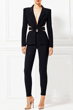 Dior Bella Women's Online Designer Fashion Store Black Cutout Back Pants Suit. sexy and chic design black pant suit v-neck button front jacket, long sleeves, cutout sides and back with sheer inserts, high waist skinny leg pants Black Pant Suit, Black Pants Outfit, Black Suits, White Pant Suit Women, Fashion Mode, Suit Fashion, Look Fashion, Fashion Outfits, Fashion 2018
