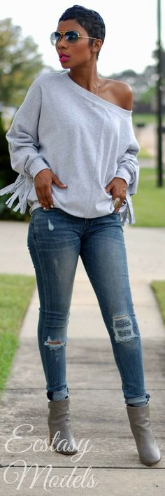 Grey Fringe Sweater // Fashion Look by Young At Style