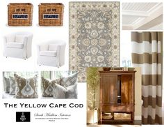 Traditional Gray and Cream Rug, Taupe Wide Stripe curtains The Yellow Cape Cod: Custom Room Designs