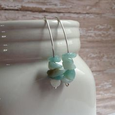 Unique earrings that look like stacked sea glass - these are beautiful!