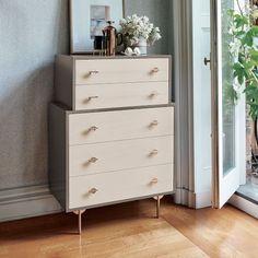 "Greta 5-Drawer Dresser | west elm  32""w x 18""d x 46.2""h. Ash wood veneer over engineered wood in a water-based Dune/Truffle finish."
