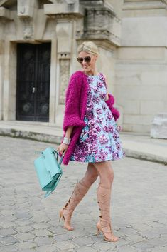 Paris street style (dress by Mary Katrantzou, bag by Delvaux)