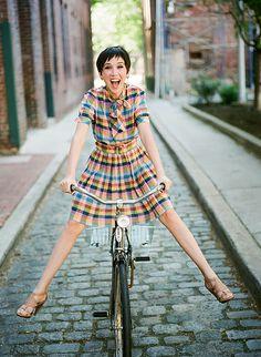 plaid dress+ Schwinn bike