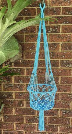 Macrame Plant Hanger Single Blue Colour, Boho    eBay