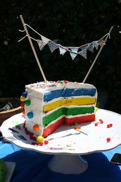 Rainbow birthday cake with mini bunting and gumball decorations