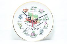 Floral Emblems of Canada Wall Clock Handmade by ComputerSandClockS, $46.95
