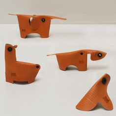 A collection of toys made from leather offcuts by Swiss designer Adrien Rovero