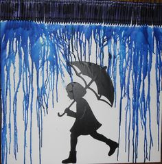 24 x 24 Girl in Rain Crayon Art, on Artists Canvas