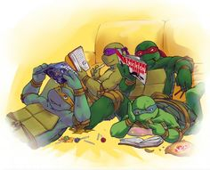 TMNT-Reading and Snacking by *tmask01 on deviantART