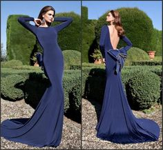 2015 Tarik Ediz Dark Blue Mermaid Evening Dresses Long Sleeve Bow Backless Party Formal Dresses Red Carpet Prom Gowns Dress For Woman Sweep, $109.66