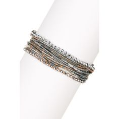 Chan Luu Multi Strand Seed Bead Bracelet ($58) ❤ liked on Polyvore featuring jewelry, bracelets, grey mix, chan luu jewelry, grey jewelry, knot jewelry, polish jewelry and charm bangles